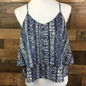 Buttons Top Cropped Layered Blue Grey Ivory Small